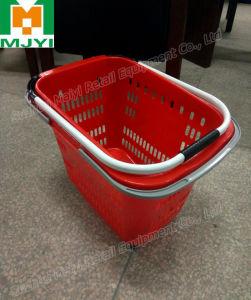 Supermarket Retail Convenient 3 Handle Plastic Shopping Basket pictures & photos