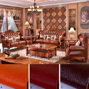 Living Room Furniture with Wooden Leather Sofa Set (508) pictures & photos