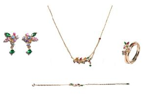 Fashion Jewelry Rose Gold Plated Fashionable Small Leaf and Follower Shape Set Jewelry pictures & photos