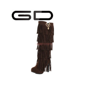 Stylish Colorful Overknee Suede Material Tassel Boots pictures & photos
