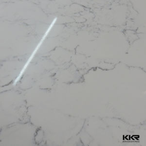 3/4 Carrara White Artificial Quartz Stone Slab for Floor Tile (Q170810) pictures & photos
