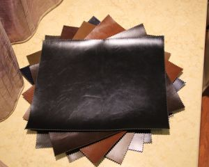 Crazy-Horse Leather Pull-up Leather PU for Shoes, Garment, Bags, Decoration (HS-Y73) pictures & photos