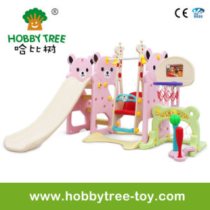 2017 Bear Style Indoor Plastic Slide and Swing for Princess (HBS17012B)
