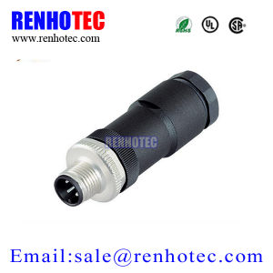 Plastic screw Terminal Type Waterproof M12 4pin Male Female Circular Connector pictures & photos