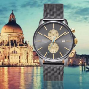 Luxury Swiss Movement Chronograph Men′s Watch on Sale Stainless Steel Wrist Watch with Mesh Band 72110 pictures & photos
