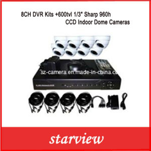 "8CH DVR Kits +600tvl 1/3"" Sharp 960h CCD Indoor Dome Cameras pictures & photos"