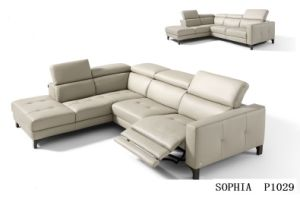 Modern Living Room Sofa with Electric Recliner Sofa Leather Corner pictures & photos