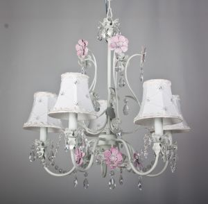 White Painted Pink Floral Crystal Chandelier for Indoor pictures & photos