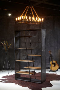 American Vintage Iron Bookshelf with Wood Layers (BS-007)