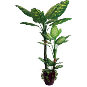 Polyester Artificial Plants of 200 Dieffenbachia with Green Plastic Pot, 2 Stems, 26 Lvs