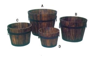Wholesale Wooden Garden Flower Plant Pots with Handle pictures & photos