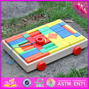2017 Wholesale Wooden Children′s Building Blocks, Pull Car Designed Wooden Children′s Building Blocks for Sale W13c031 pictures & photos
