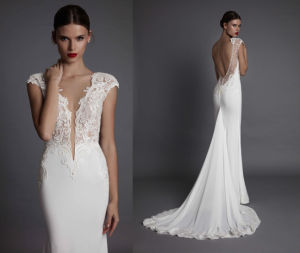 Plug V Neck Soft and Flowing Wedding Dress pictures & photos