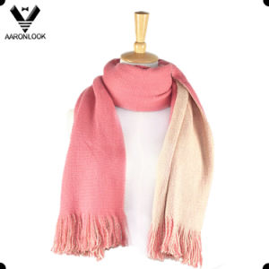 Lady′s Soft Acrylic Double Face Stretch Knit Scarf pictures & photos
