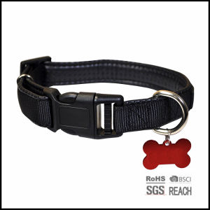 Black Plain Nylon Pet Dog Cat Collar with ID Name Plate pictures & photos