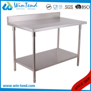 2 Layer Stainless Round Tube Shelf Reinforced Robust Construction Backsplash Workbench with Height Adjustable Leg pictures & photos