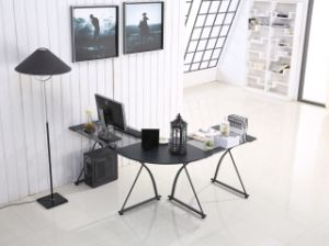 Home Furniture L-Shape Table with Glass Top for Computer Study Room pictures & photos