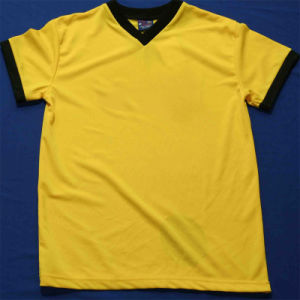 100%Cotton Unisex Blank Yellow Crew Neck Men′s Short Sleeve T-Shirt pictures & photos
