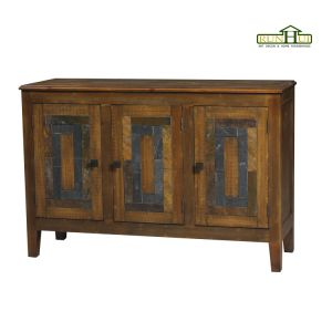 3 Door Distressed Wooden Sideboard with Marble Inlay on Panel pictures & photos