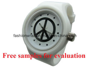 Fashion Plastic Watches With White Silicone Wristband (FP-101)