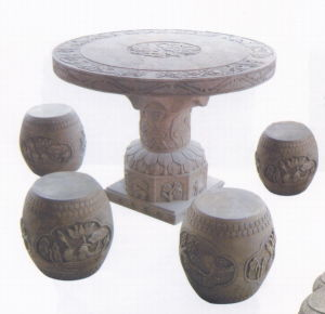 Antique Stone Drum Table (HS2003) pictures & photos