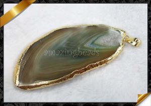 Wholesale Pendant Jewelry, Agate Slice Pendants, Gemstone Pendant Necklace (YAD004)