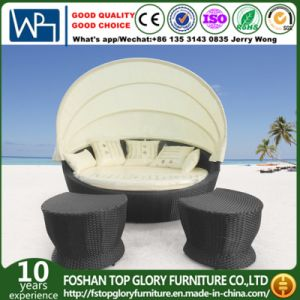 Outdoor Rattan Round Sun Bed with Canopy (TGLU-12) pictures & photos
