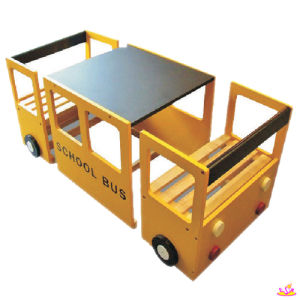 China school bus wooden kids study table and chair study - School bus table and chair ...