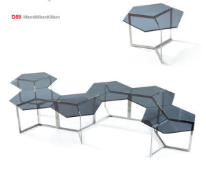 Simple European Designs Glass Table with Stainless Steel Base (CCT-033) pictures & photos