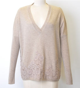 Wool Cashmere Women V-Neck Pure Color Knit Sweater Jumper pictures & photos