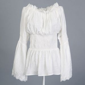 Peasant Blouse White Lace Trim Womens Tunic Tops Shirts Plus Sizes pictures & photos