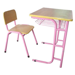 Hot Sale Pink Single School Desk and Chair of Plywood