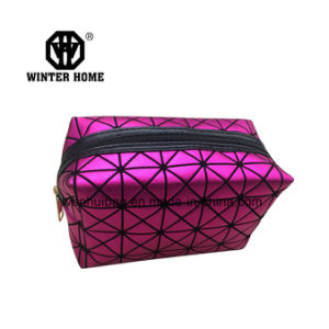 Lady Purple Soft Diamond PU Makeup Cosmetic Organizer Bag pictures & photos