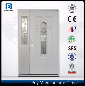 3pnl Oval with Glass Double Steel Entrance Villa Door pictures & photos