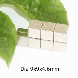 Block Shape Neodymium Permanent Magnet with Nickel Dimension 9X9X4.6mm pictures & photos