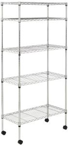 Multipurpose 5 Tiers Household Chrome Metal Kitchen Storage Rack with Wheels pictures & photos