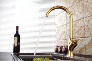 Contemporary Kitchen Faucet with Gold Finish
