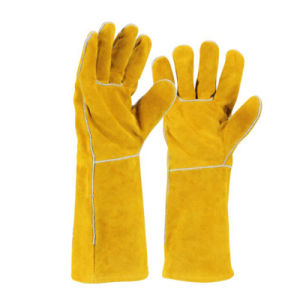 Heat Resistant Split Cow Leather Welding Glove for Welder pictures & photos