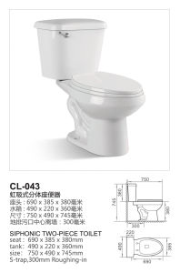 Siphonic Two Piece Water Closet Ceramic Toilet (CL-043) pictures & photos