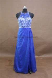Wholesale Top Quality Crystal Blue Evening Dress with Beading