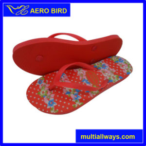 Ladies PE Footwear with Lovely Flower Print (15I079) pictures & photos