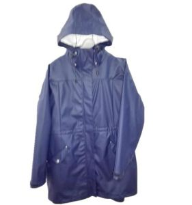 Taped Navy Solid PU Waterproof Raincoat for Adult pictures & photos