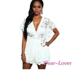 Fashion White Lace Sheer Top Romper pictures & photos