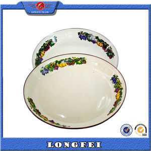 2015 Hot New Products Enamel Soup Plate with Decal pictures & photos