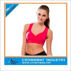 Full Figure Fuchsia Sexy Ladies Sports Bra with Heartshape Neckline pictures & photos