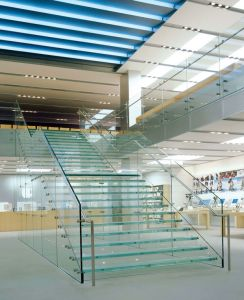 Customized Laminated Glass Treads Staircase / Frameless Glass Railing Straight Stairs pictures & photos