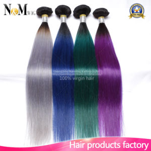 Burgundy/Purple/Red/Green/Gray Ombre Human Hair Weave 9A Two Tone Brazilian Hair Weft pictures & photos