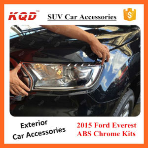 for 2015 Everest/Endeavour Accessories Chrome Matte Black Full Kits Headlamp Cover ABS Plastic Everest 2016 SUV Accessorios