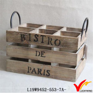 Solid Wood Wine Basket with 6 Compartment and Handle pictures & photos