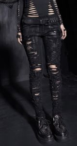 Fashion Sexy Gothic Skeleton Black Cowboy Broken-Hole Trousers (K-141) pictures & photos